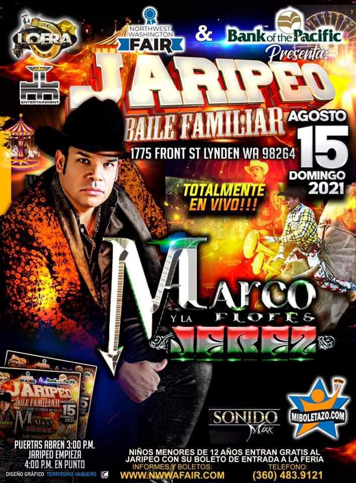 Gran Jaripeo baile familiar con marco flores y los toros aztecas en la feria de lynden